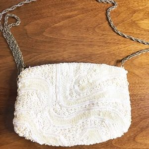 Vintage Beaded and Sequin Crossbody White Purse